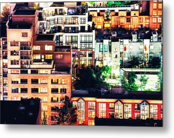Mosaic Juxtaposition By Night Metal Print