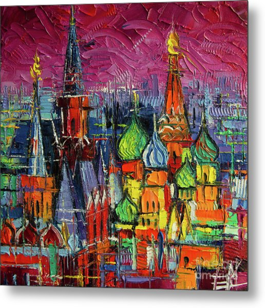 Moscow Red Square View Textural Impressionist Stylized Cityscape Metal Print