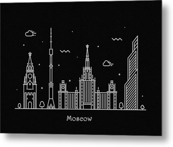 Moscow Skyline Travel Poster Metal Print