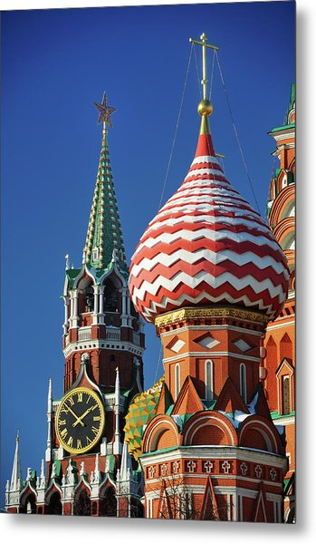 Moscow, Spasskaya Tower And St. Basil Cathedral Metal Print