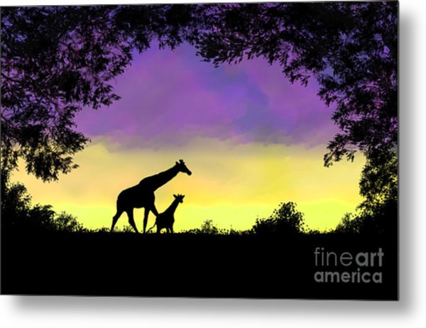 Mother And Baby Giraffe At Sunset Metal Print