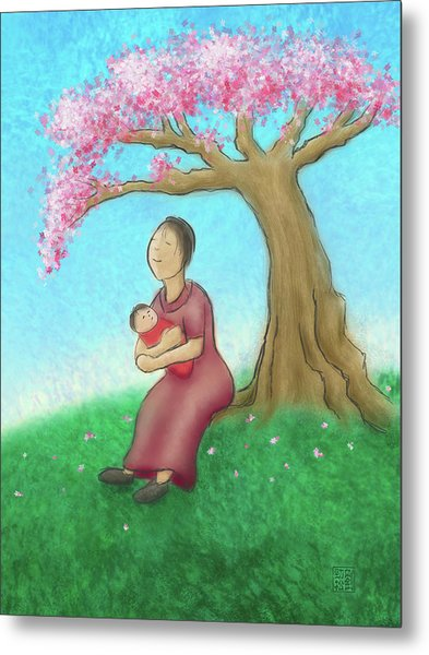 Mother And Child With Cherry Blossoms Metal Print