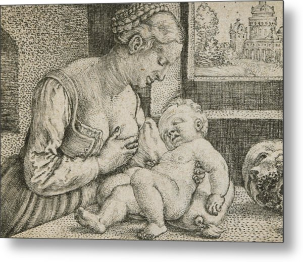 Mother And Child With Skull And Hourglass Metal Print