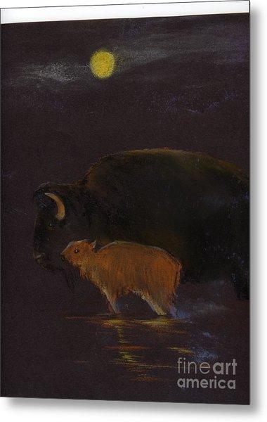 Mother Bison And Calf Metal Print by Mui-Joo Wee