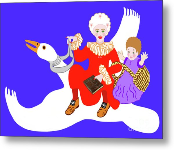 Mother Goose On Her Flying Goose Metal Print