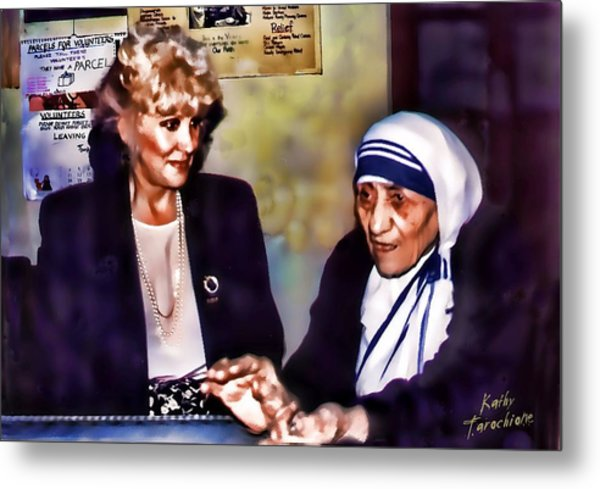 Mother Teresa In Calcutta Metal Print by Kathy Tarochione