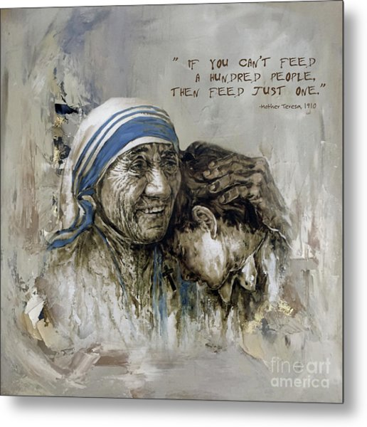 Mother Teresa Portrait  Metal Print