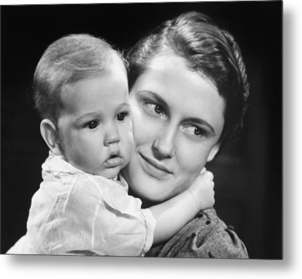 Mother With Baby Girl (9-12 Months) Posing In Studio, (b&w), Portrait Metal Print by George Marks