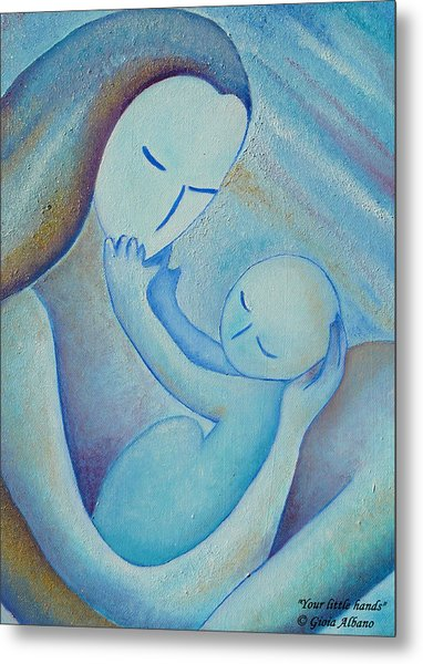 Motherhood Oil Painting Your Little Hands By Gioia Albano Metal Print