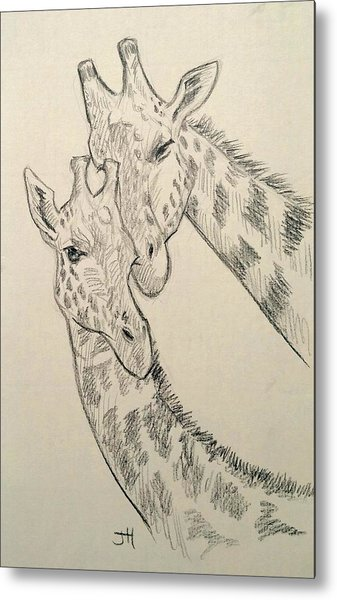Metal Print featuring the drawing Motherly Knudge by Jennifer Hotai