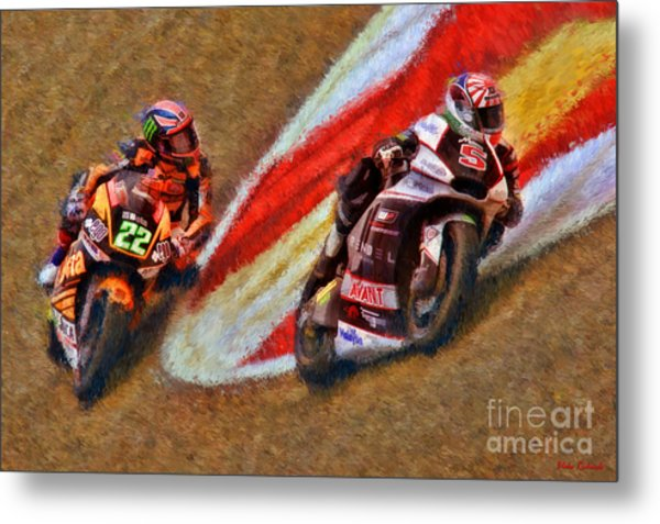 Moto2 Johann Zarco Leads Sam Lowes Metal Print