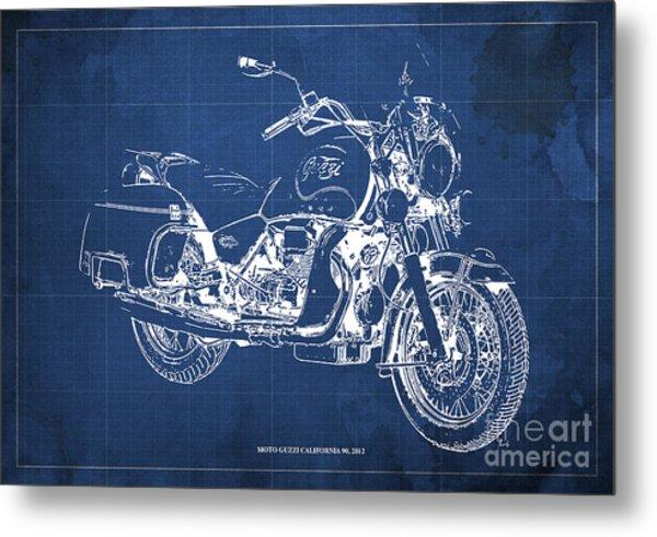 Moto Guzzi California 90  2012 Blueprint Metal Print