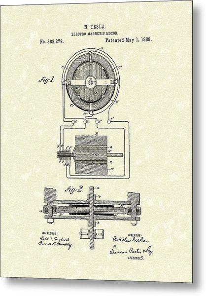 Motor 1888 Patent Art Metal Print