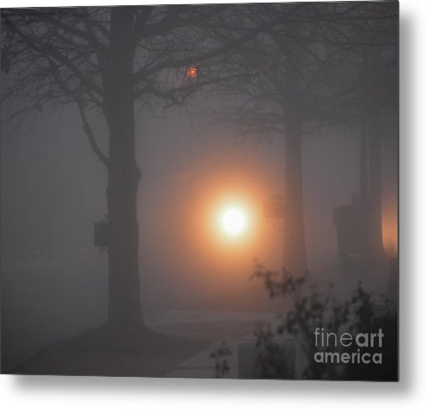 Motorcycle In The Fog In Loganville Georgia Metal Print