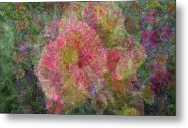 Mottled Pink Collage Pop Metal Print