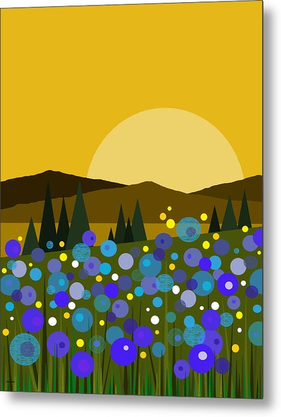 Mountain Meadow Sunrise And  Bluebells Metal Print