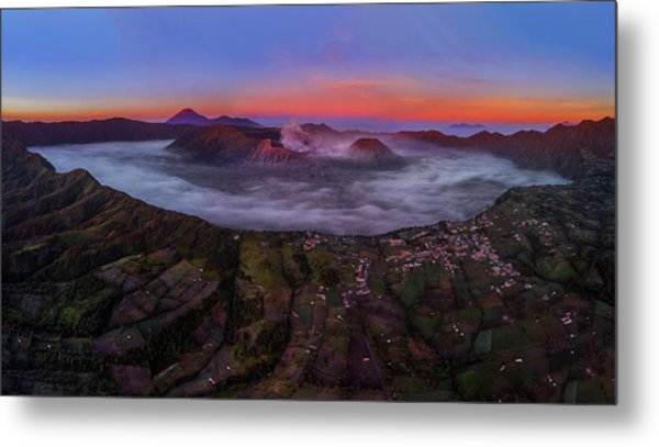 Mount Bromo Misty Sunrise Metal Print