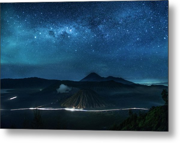 Metal Print featuring the photograph Mount Bromo Resting Under Million Stars by Pradeep Raja Prints