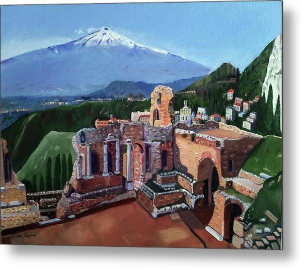 Mount Etna And Greek Theater In Taormina Sicily Metal Print