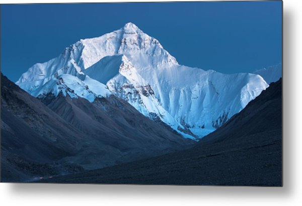 Mount Everest At Blue Hour, Rongbuk, 2007 Metal Print