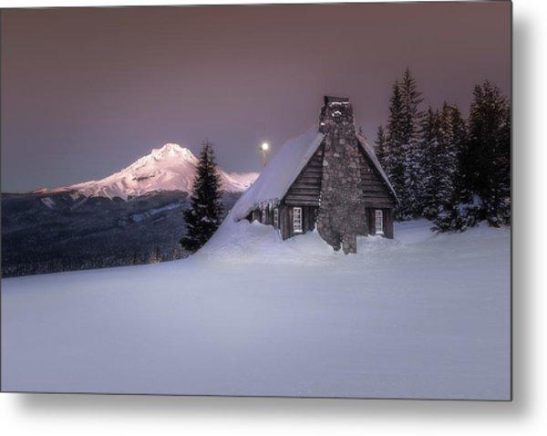 Mount Hood From The Skibowl Historic Warming Hut Metal Print