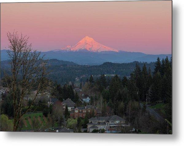 Mount Hood Over Happy Valley Oregon Metal Print