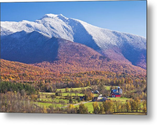 Mount Mansfield Autumn Snowfall Metal Print