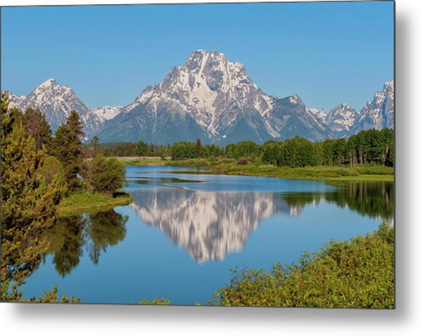 Mount Moran On Snake River Landscape Metal Print