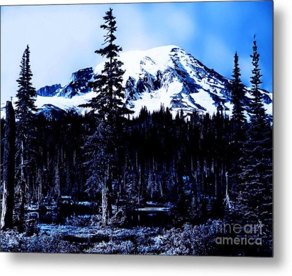 Mount Rainier Blue... Metal Print