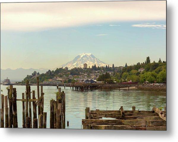 Mount Rainier From City Of Tacoma Washington Waterfront Metal Print