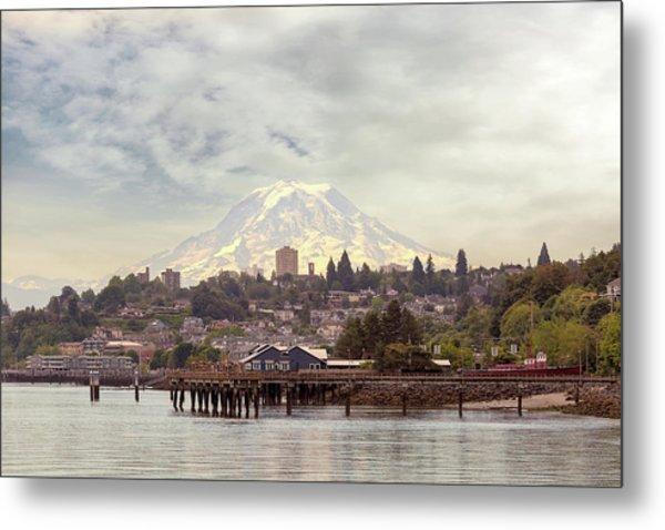 Mount Rainier Over City Of Tacoma Washington Metal Print