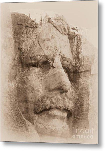 Mount Rushmore Faces Roosevelt Metal Print