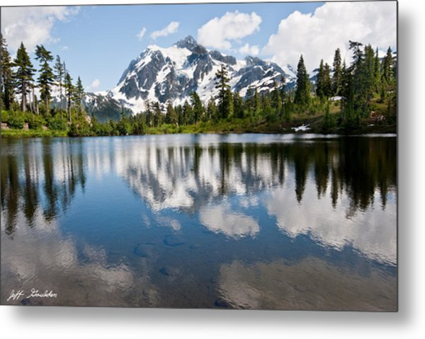 Mount Shuksan Reflected In Picture Lake Metal Print