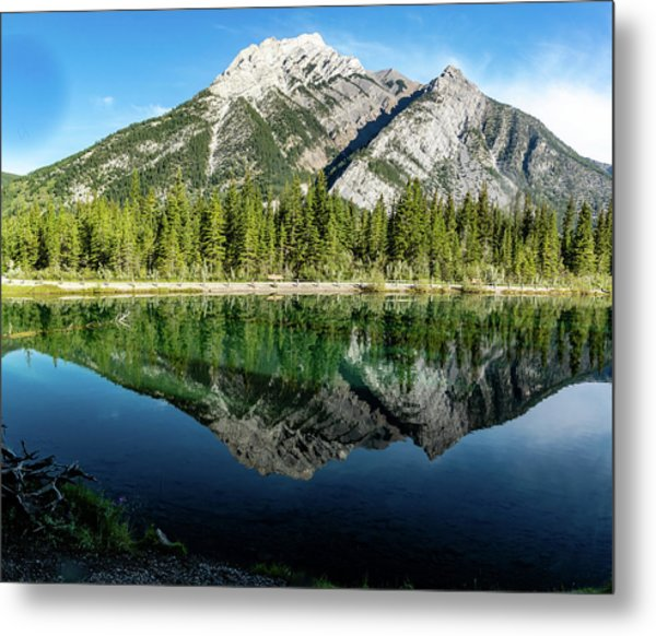 Mount Skogan Reflected In Mount Lorette Ponds, Bow Valley Provin Metal Print