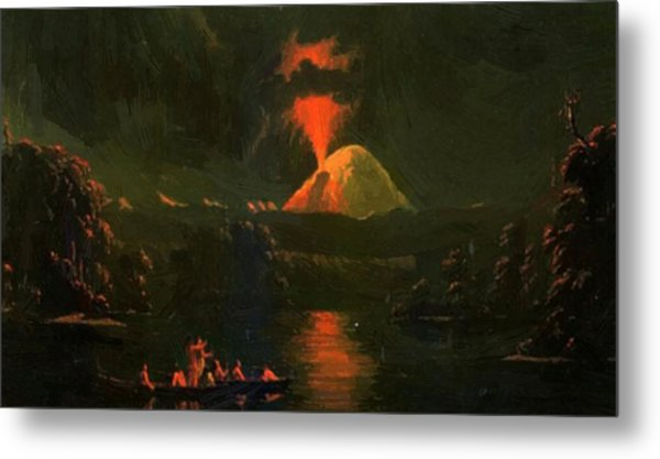 Mount St Helens Erupting At Night Metal Print