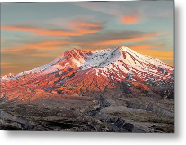 Mount St Helens Sunset Washington State Metal Print