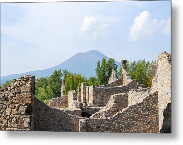 Mount Vesuvius Beyond The Ruins Of Pompei Metal Print