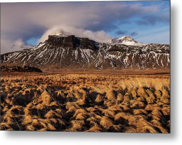 Metal Print featuring the photograph Mountain And Land, Iceland by Pradeep Raja Prints