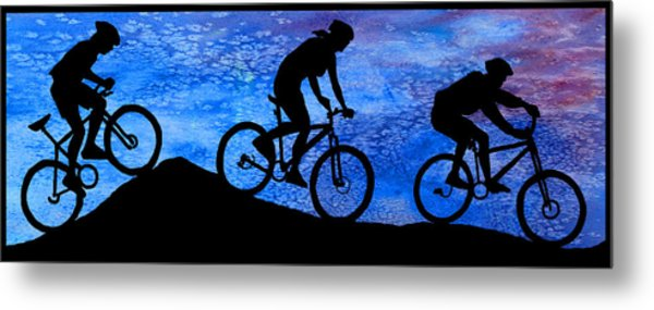 Mountain Bikers At Dusk Metal Print