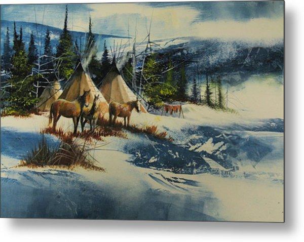 Mountain Camp Metal Print by Robert Carver