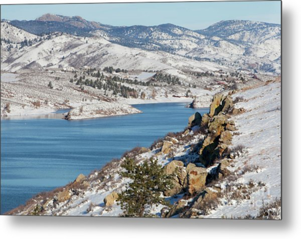 Mountain Lake In Winter Scenery Metal Print