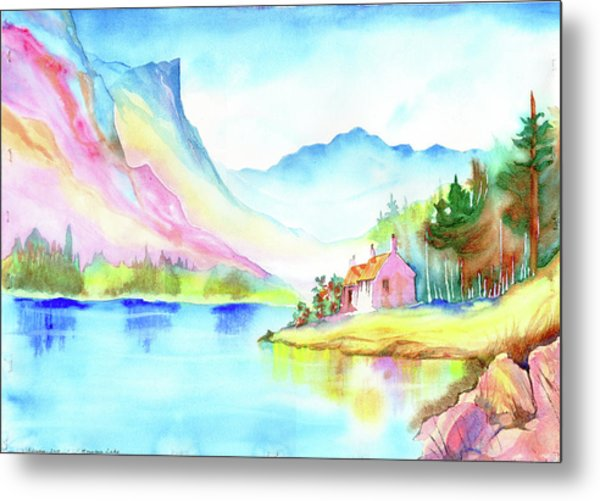 Metal Print featuring the painting Mountain Lake by Xavier Francois