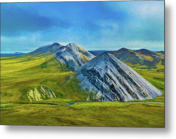 Mountain Landscape Digital Art Metal Print