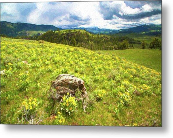 Mountain Meadow Impressionist Digital Art Metal Print