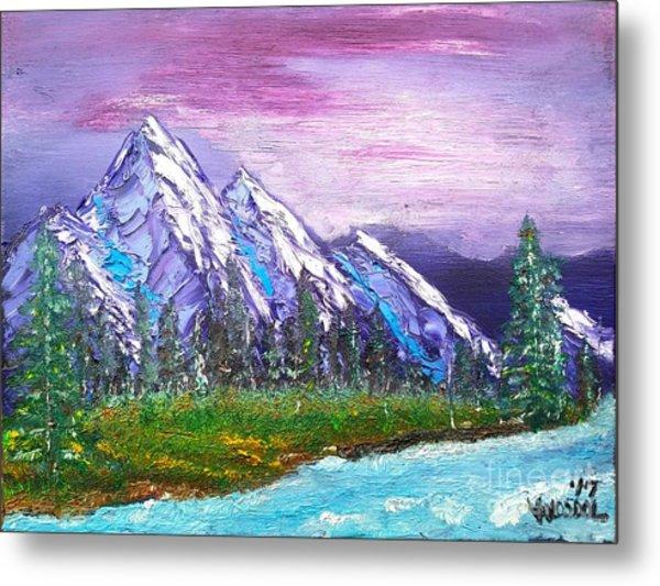 Mountain Meadow Landscape Scene Metal Print