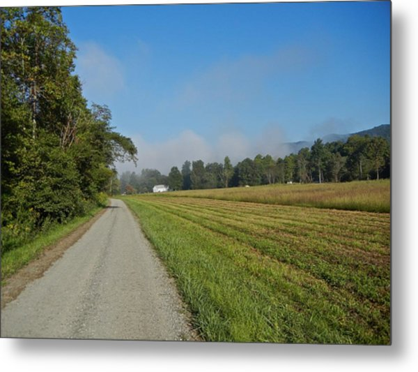 Mountain Mist On Country Road Metal Print by Alan Olansky