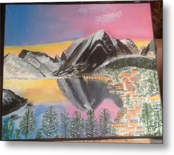 Mountain Reflections Metal Print by Audrey Pollitt