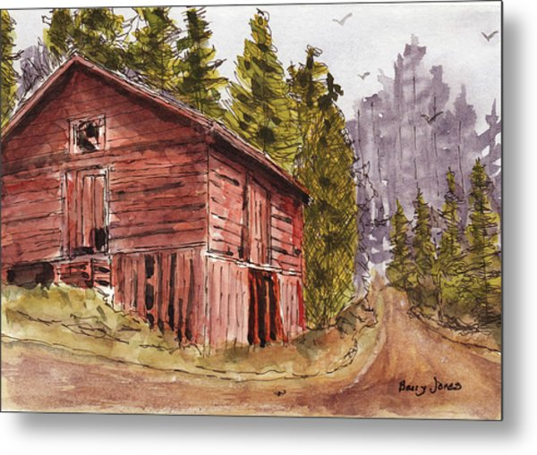 Metal Print featuring the painting Mountain Retreat by Barry Jones
