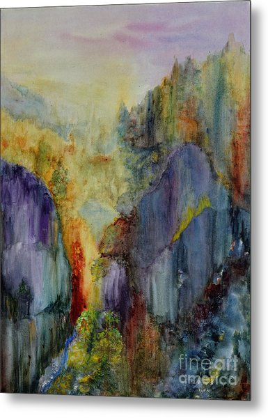 Metal Print featuring the painting Mountain Scene by Karen Fleschler
