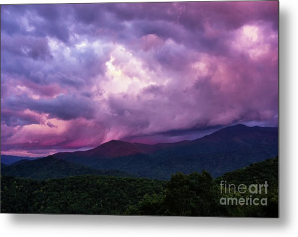 Mountain Sunset In The East Metal Print
